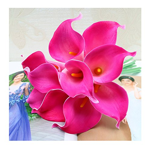 tutu.vivi 10pcs Calla Lily Bridal Wedding Bouquet Head Latex Real Touch Artificial Flower Home Party Wedding Decor Fuschia