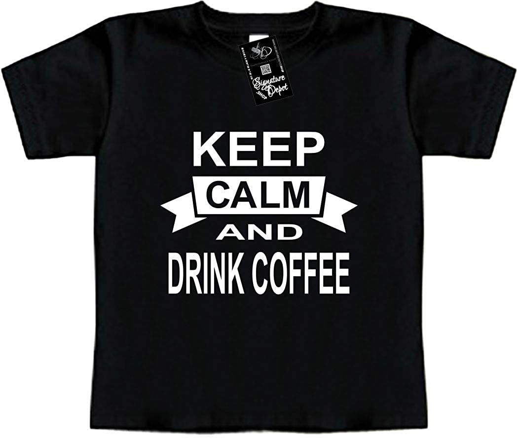 Toddler Tee Keep Calm and Drink Coffee Drinks Signature Depot Funny Baby T-Shirt