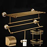 GuoEY Bathroom Shower handle extremely strong of the plateau of the former Dry-Towels Hair-Bath, game of equipment of copper retro European all ensure the quality of the color of the plate (C)