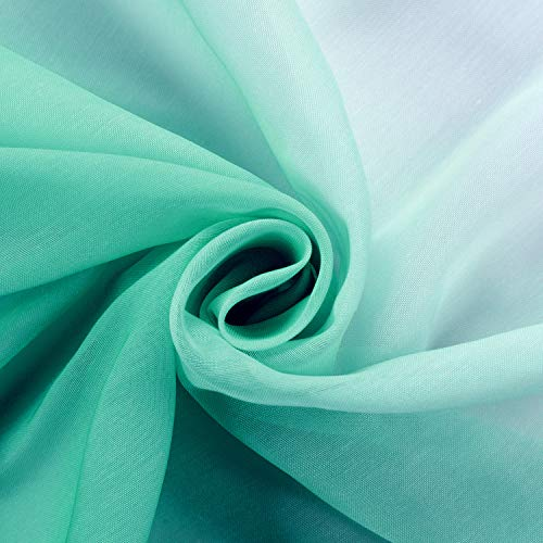 cololeaf Indoor Outdoor Gradient Ombre Sheer Curtain Patio| Porch| Gazebo| Pergola | Cabana | Dock| Beach Home| Backyard| Country| Garden| Wedding - Nickle Grommet - Teal 52'' W x 84'' L (1 Panel)