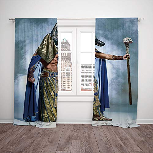 Polyester Window Drapes Kitchen Curtains,Egyptian,Ancient Egyptian Pharaoh With a Mask of Anubis Foggy Background Print,Navy Gold and Dimgrey,Living Room Bedroom Kitchen Cafe Window Drapes 2 Panel -