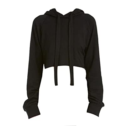 e4b8af18787a0 LvRao Womens Girls Hoodies Drawstring Cropped Hoody Sweatshirt Plain Jumper  Sweat Pullover Tops (Black