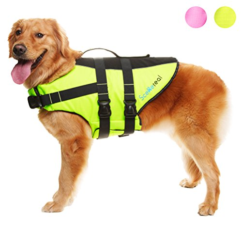 02 Swim Vest - SCENEREAL Dog Life Jacket - Outdoor Safety Adjustable Vest for Small Medium Large Dogs Pets with Bright Colors Summer Swimming, Green XL