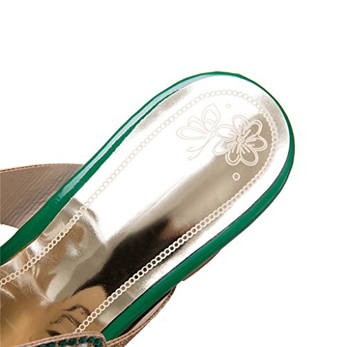 Superior PU Sandalias Moda Mujer EU35 Color Mujer Verano Talón Rhinestone UK3 Grueso CN34 Tamaño Medio Zapatillas Zapatos De Verde Talón Fqfdwn