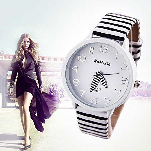 LNTGO Wamage Ladies Zebra Pattern Quartz Watch Women'S Fashion Analog Casual Wristwatches