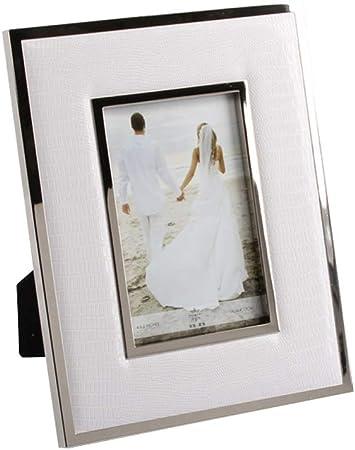 Marco de Fotos de Metal Marco de Cuero Blanco Caja de artesanía Red Blanca, Dos Formas, Puede Poner Fotos de 7 Pulgadas QYSZYG (Size : A): Amazon.es: Hogar