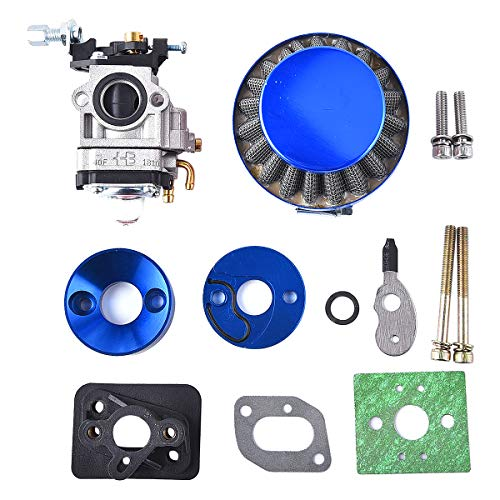 15mm Carburetor Upgrade Kit Air Filter Set Compatible with 2 Stroke 43cc 47cc 49cc Standup Gas Scooter ATV Quad Pocket Bike X-TREME XG-550 BladeZ Moby X Blue