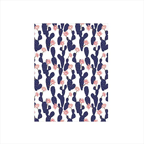 - Ylljy00 Decorative Privacy Window Film/Cactus Tropical Garden Theme Blossoming Succulent Plants Exotic Botanical/No-Glue Self Static Cling for Home Bedroom Bathroom Kitchen Office Decor Indigo Coral
