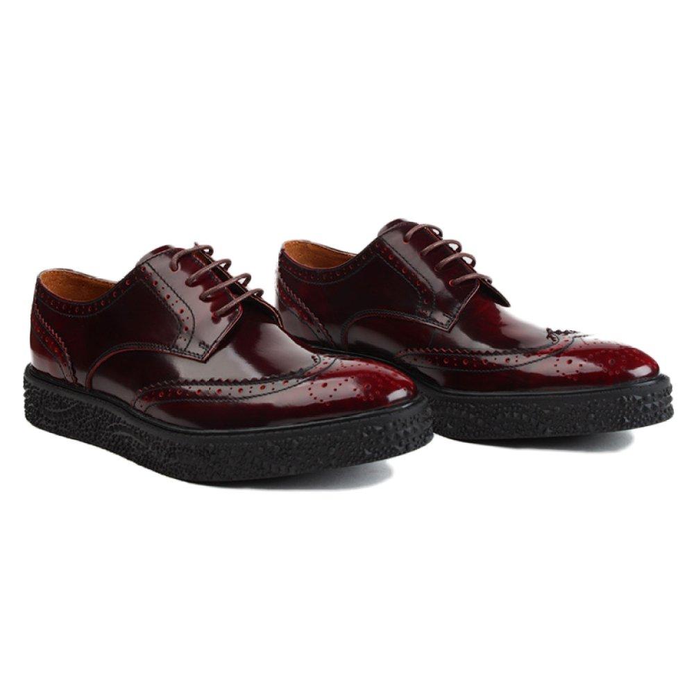 LinShuiXian Formal Herren Rot Schwarz Geschäft Formal LinShuiXian Spitze Echtes Leder Brogues Schnüren Schuhe Arbeit Bankett Flache Schuhe Hochzeit Brogue Kleid Derby Schuhe ROT 1d6013