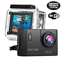 Pictek WiFi Action Camera, [Upgraded Version]Full HD 1080P 30M Underwater Camera, Outdoor Anti-shaking Sports Camera with 170° Ultra Wide-Angle Len/ 2-inch HD LCD Display/ 2Pcs Rechargeable Batteries/ Outdoor Accessories Kits/ Built-in WiFi
