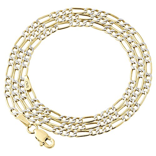 10K Yellow Gold 2.5mm Diamond Cut Figaro Chain Necklace Lobster Clasp, 22 Inches (Diamond Cut Figaro Chain Necklace)