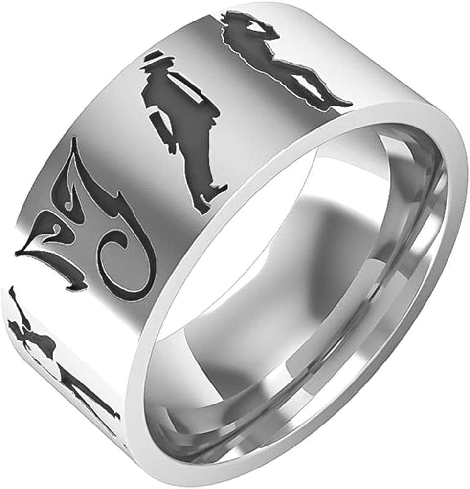 Excow Jewelry Michael Jackson Rings Moonwalk Dance Vocal Concert Band Stainless Steel Bike Ring