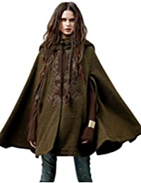 Women's Hoodie Embroidery Turn-down Collar Woolen Cape Green One Size