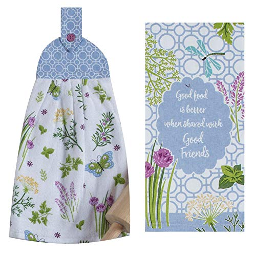 FAKKOS Design Butterfly Towels Set - Herb Garden Terry Kitchen Tie Towel and Matching Tea Towel 100% Cotton