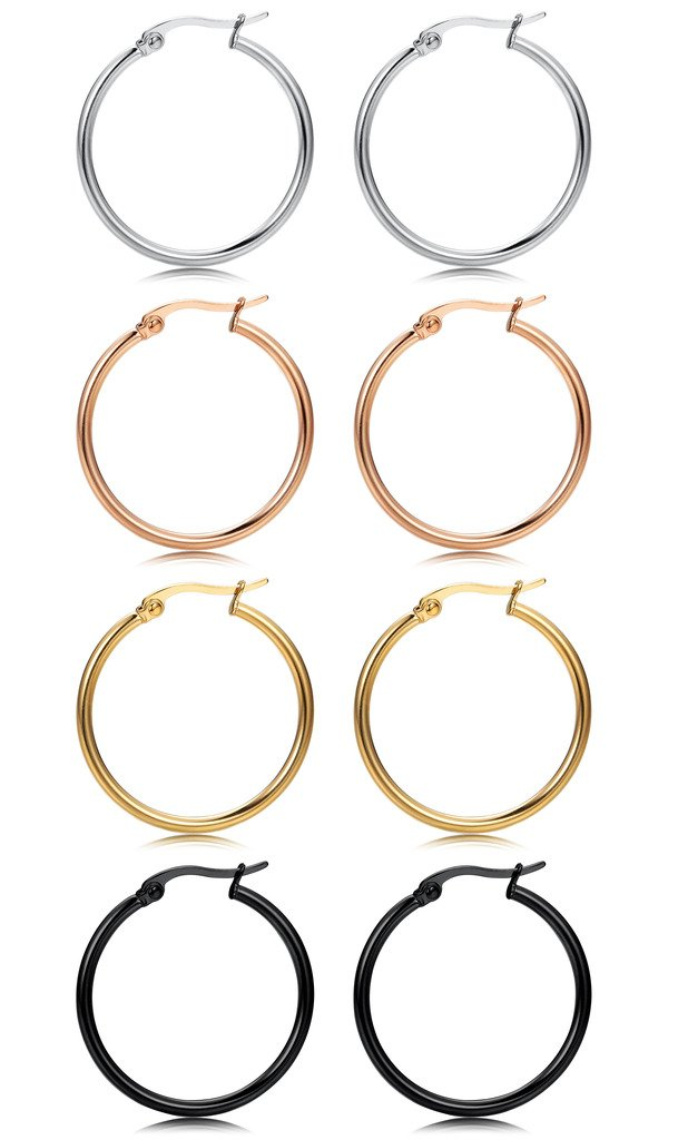 FIBO STEEL 4 Pairs 4 Colors Stainless Steel Small Hoop Earrings for Women Girls Huggie Earrings 10MM-25MM 1WHE093-10MM