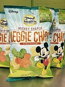 Disney Mickey Shaped Veggie Chips Vegetables 1 Big Bag 6.75oz Mickey Mouse 130 Calories for 35 Chips Kids Fun Healthy Snack