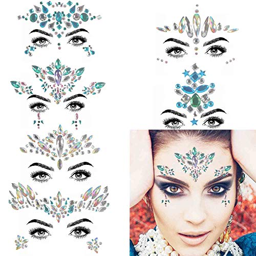 COKOHAPPY 6 Sets Rhinestone Mermaid Face Jewels Tattoo - BODY STICKERS Crystal Tears Gem Stones Bindi Temporary Stickers (Collection