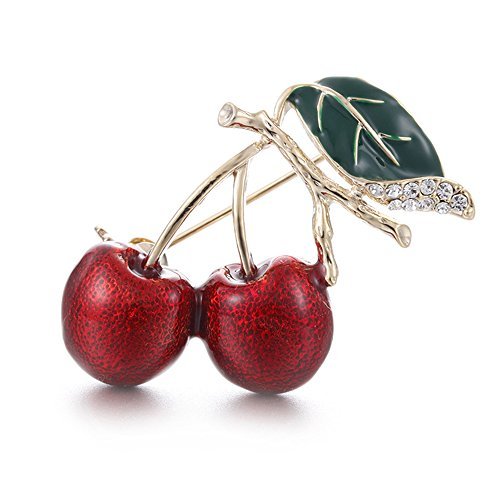 MINGHUA Red Cherry Collar Brooch Enamel Fruit Corsage Lapel Pin for Girls Clothing Acccessories