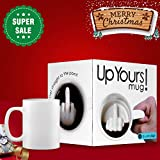 """SHENNOSI """"Up Yours"""" Thumbs Up! Middle Finger Ceramic Mug Funny with Hidden Coffee Milk Tea Cup white"""