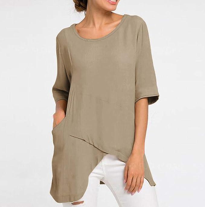 VEMOW Tops Camisetas Mujeres O-Cuello Color Puro Tallas Grandes ...