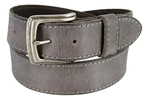 Made in Italy Full Grain Leather Casual Jeans Belt (36, Grey)