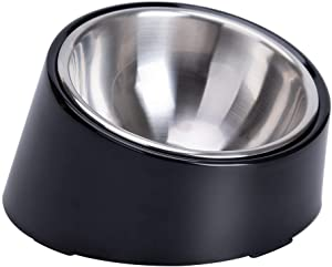 Super Design Mess Free 15 Degree Slanted Bowl for Dogs and Cats 1.5 Cup Black