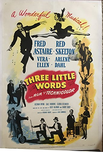 THREE LITTLE WORDS (1950) Fred Astaire and Red Skelton, an original MGM 1-sheet poster, linen-backed, in full color, fabulous artwork! Poster is linen-backed. Great image of teh two stars, Fred Astaire and Red Skelton. Linen Backing uses acid free Japanese Lining paper and a Wheat starch solution containing an alkali buffer which when used together provide a stable acid free environment for mounting a poster. The linen-backing process for a one-sheet poster usually runs $200-$300. -