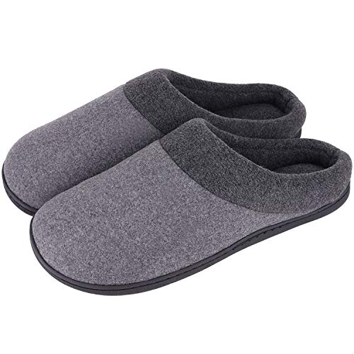 HomeIdeas Men's Woolen Fabric Memory Foam Anti-Slip House Slippers, Autumn Winter Breathable Indoor Shoes Grey