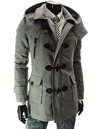 TheLees (HWC) Mens Removable Hood Zipper Wool Coat Gray US