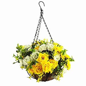 Mynse Silk Rose Flowers Hanging Flowerpot with Chain Wedding Home Garden Outside Decoration Hanging Bakset Artificial Rose Flowers Yellow and White 118