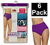 Fruit of the Loom Women's 6 pack Cotton Brief Panties