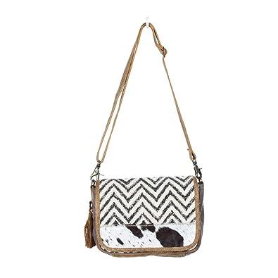 2271b87bf89a Amazon.com: Myra Bag Artistic Upcycled Canvas & Cowhide Shoulder Bag ...