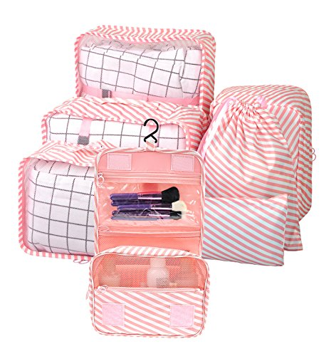 Vercord 7 Set Assorted Packing Organizers, Travel Luggage Mesh Packing Cubes & Underwears Packing Cube & Cosmetics Case & Shoes Makeup Bags, Pink (Striped Shoe Organizer)