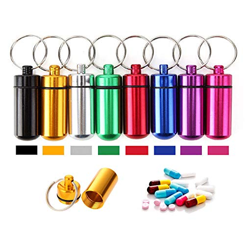 Aluminum Metal Pill Box Case Organizer - 10 Pieces Outdoor Medicine Bottle Hermetic First-aid Keychain Round Pill Bottle Camping Survival Waterproof First Aid Pill Container,Random Color by ezyoutdoor