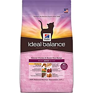 Hill'S Ideal Balance Adult Natural Cat Food, Chicken & Brown Rice Recipe Dry Cat Food, 15 Lb Bag 120