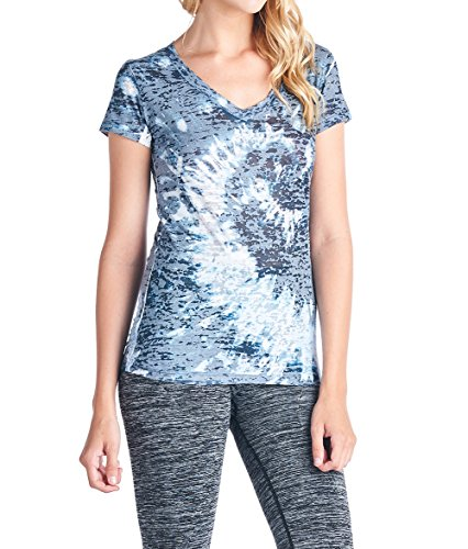 V-neck Sublimation Top - Tough Cookie's Women's Rainbow Tie Dye Sublimation Burnout V-Neck Top (Medium, Navy)