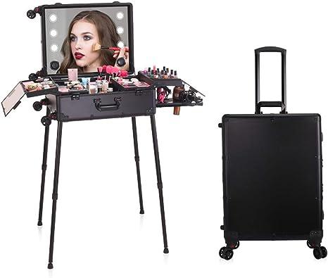 HUATINGRHBO Estuche de Maquillaje Profesional, Estuche de Tren de Maquillaje con Luces integradas, Estuche de Viaje | Maleta de Equipaje | Organizador de Almacenamiento | Peluquero, Black: Amazon.es: Deportes y aire libre