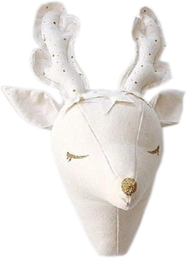 MINLIN Cute 3D Sheep Deer Unicorn Wall Art Decorations Animals Head Toys Kids Room Wall Hangings Baby Gifts Stuffed Toys White Reindeer (Deer)