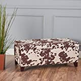 Christopher Knight Home 301255 Living Brienne Velvet Cow Print Storage Ottoman Bench, Milk Review