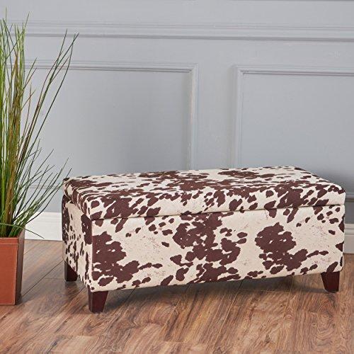 Christopher Knight Home 301255 Living Brienne Velvet Cow Print Storage Ottoman Bench, Milk