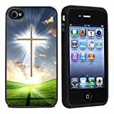 AtomicMarket Rubber Christian Cross iPhone 4 or 4s Case / Cover Verizon or At&T
