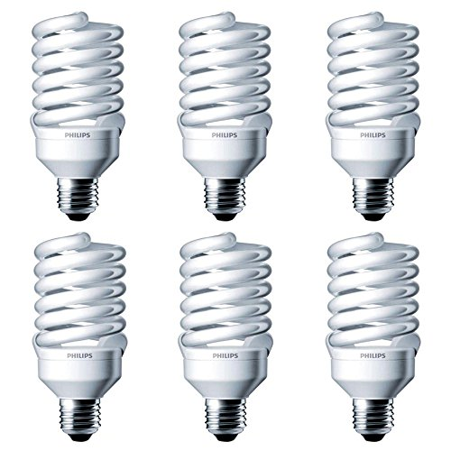Philips 414060 100 Watt Equivalent Compact Fluorescent Twister Light Bulb, Cool White, 6 ()