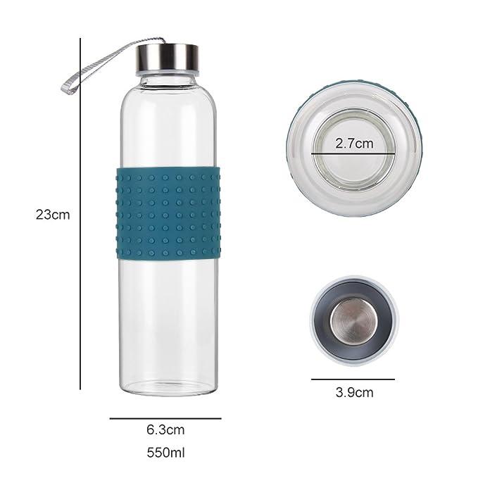WELTRXE Glasflasche Trinkflasche mit Silikonhülle BPA-Frei, Tragbar ...