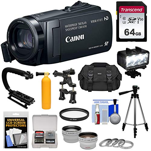 Canon Vixia HF W11 32GB 1080p HD Shock & Waterproof Video Camera Camcorder with 64GB Card + Case + LED Light + Tripod + 2 Lens Kit