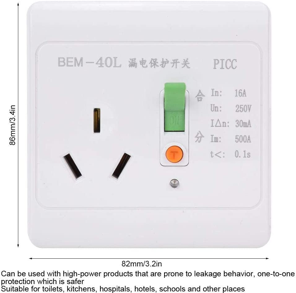 BERM Leakage Protection Switch 3-Holes Household Socket Protector Leakage Circuit Breaker ABS 16A 250V