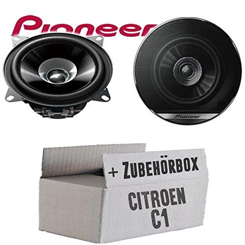 Lautsprecher Boxen Pioneer TS-G1010F 10cm Doppelkonus 100mm PKW KFZ Auto 190W Paar Einbausatz Einbauset f/ür Citroen C1 JUST SOUND best choice for caraudio