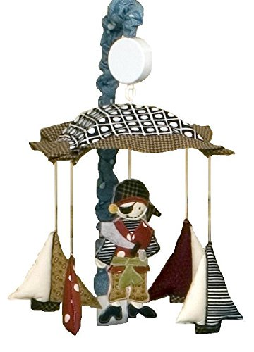 Cotton Tale Designs 100% Cotton Pirates Cove Multi Colored Red & Black, White Polka Dots, Stripes, Houndstooth with Pirates & Ships Sailing Under Canopy Musical Mobile with Blue & White Dot Arm Cover