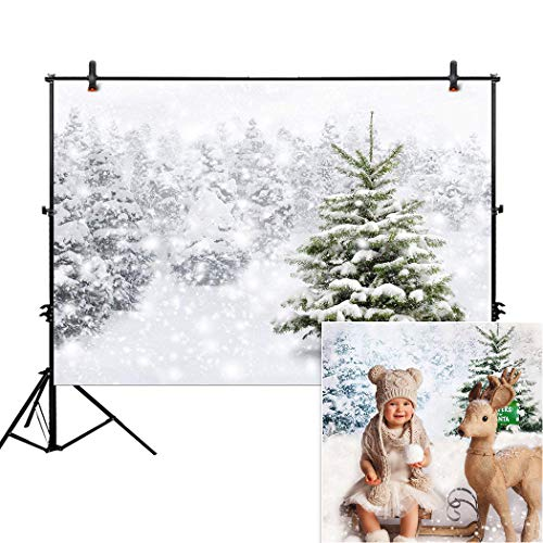 Allenjoy 7x5ft christmas Xmas new year photography backdrop background snow trees holiday party winter forest snowflake pine snowy