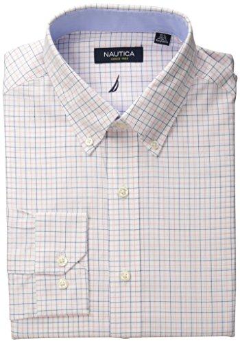 - Nautica Men's Tattersal Buttondown Collar Dress Shirt, Pink/Blue, 15.5
