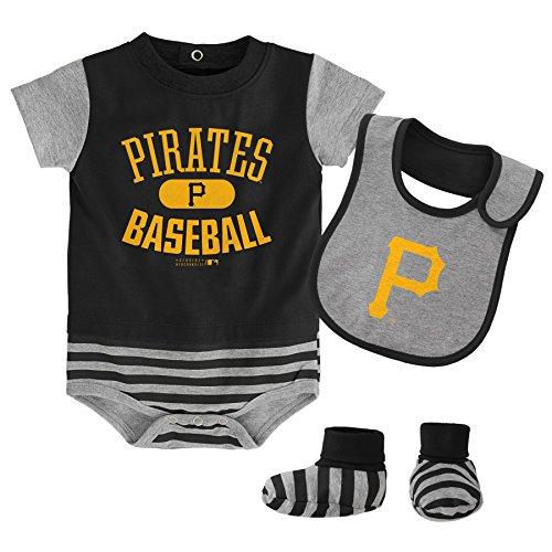OuterStuff MLB Pittsburgh Pirates Infant Boys Bib & Booty-24 Months, Black - Adidas Black Bib